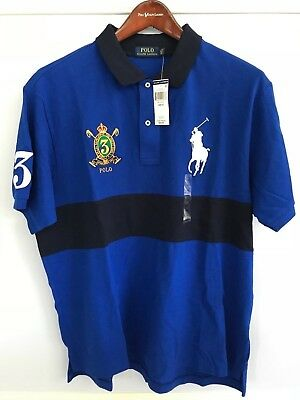Cotton Mesh Rugby (Polo Ralph Lauren S/S Big Tall Pony 100% Cotton Mesh Rugby Shirt Blue NWT)