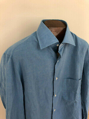 NWT ISAIA Classic Staple Spring Summer Linen Blend Blu L/S Dress Shirt SZ 15.5