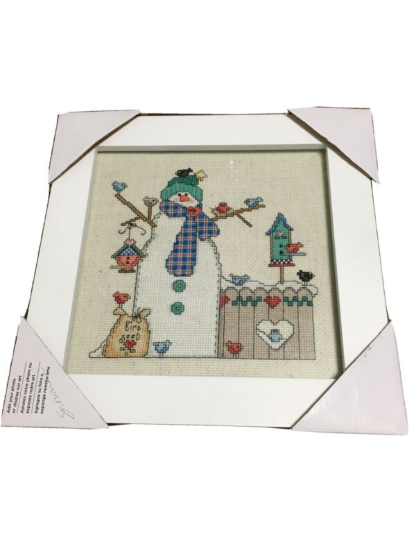 "SNOWMAN & BIRDS FINISHED COMPLETED CROSS STITCH 10"" Framed Winter Holiday"