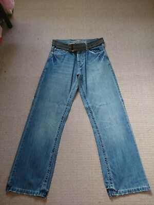 MENS RELAXED BOOTCUT DISTRESSED JEANS&CANVAS BELT 32R NEW NO TAG Belted Bootcut Relaxed Jean