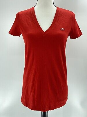Lacoste Womens Short Sleeve V Neck T- Shirt Red Size 36