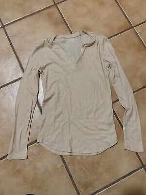 MAJESTIC FILATURES DELUXE TEESHIRT SIZE 1 BEIGE GLITTER COTTON CASHMERE TOP