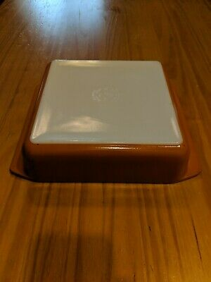 "Vintage Pyrex 922 Square Baking Dish Orange 8""x8""x2"""