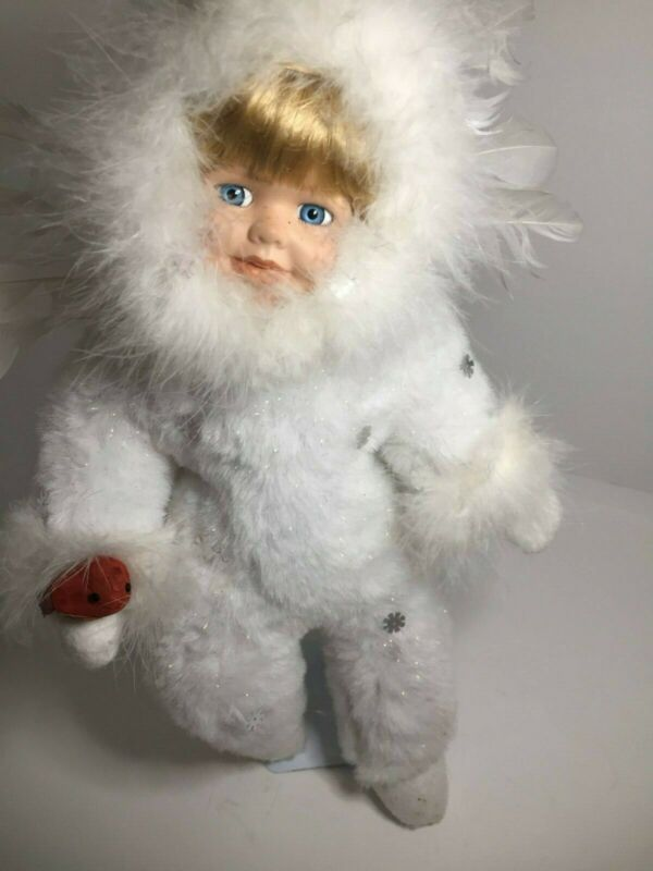 Porcelain Face Doll White furry angel Feather Wings