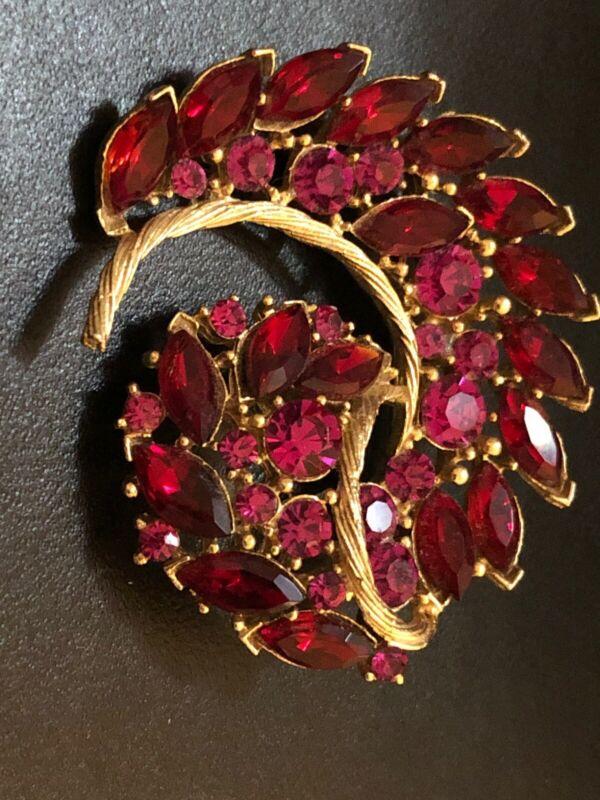 Stunning Vibtafe Brooch Red Stines Estate Jewelry