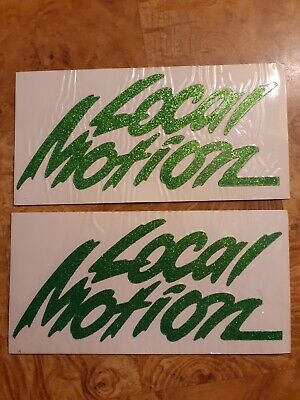 LOCAL MOTION Green Glitter STICKER lot vtg prism 3D Chroma Graphics 1980s decal