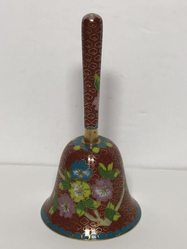 """Vintage Chinese Cloisonne Bell. Small Brass Floral Motif Hand Bell. 4.25"""" Tall"""