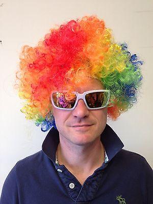 Bunt Regenbogen Zirkus Lockig Afro Clown Perücke Halloween Kostüm Erwachsene