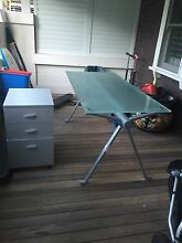 Great condition freedom frosted glass desk and filing cabinet Cremorne North Sydney Area Preview