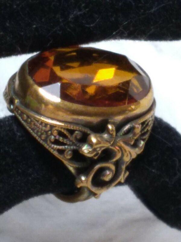 Antique Victorian Amber czech glass Lion Griffin Dragon Brass ring Size 4