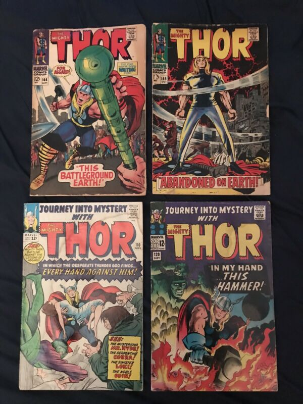 THOR & JOURNEY INTO MYSTERY Silver Age Lot of 4 comics #110,120,144,145: Avg GD+