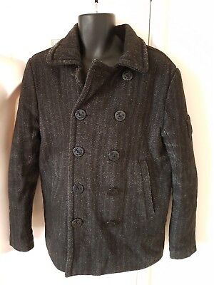 MENS SUPERDRY GREY WOOL MIX MILITARY HERRINGBONE QUILTED LINED JACKET COAT L