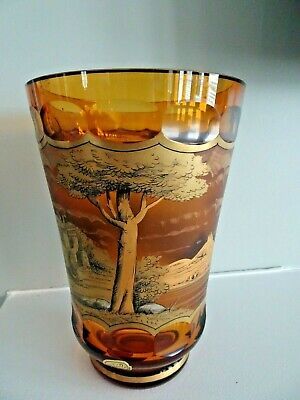 Exbor Bohemian Glass PEN SKETCH Carriage Scene Faceted Amber VASE Signed Freudl