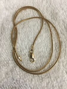 18k solid pure yellow gold snake chain for lady