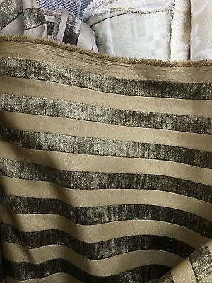 BROWN GOLD STRIPED CHENILLE UPHOLSTERY FABRIC (54 in.) Sold By The Yard Brown Chenille Upholstery Fabric