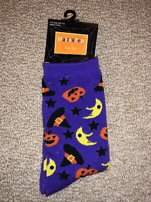 Women's Halloween Socks Purple Pumpkin Witch Moon Costume Accessory NWT