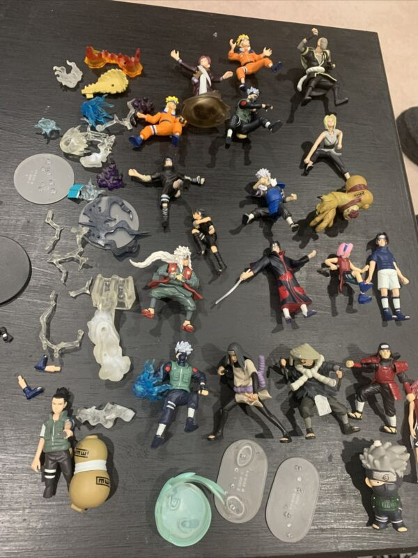 Naruto Mini Figures Lot Of 19 2002 MK w/ Accessories Base Parts Free Shipping