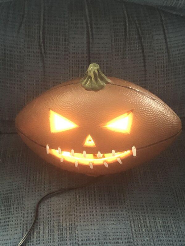 "Halloween Jack O Lantern Pumpkin Electric Light Football Decoration 12"" Works"