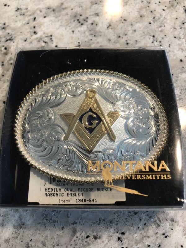 Belt Buckle with Square and Compass Montana Silversmith Masonic Mason New