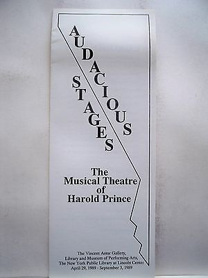 AUDACIOUS STAGES Brochure THE MUSICAL THEATRE OF HAROLD PRINCE Lincoln Ctr 1989