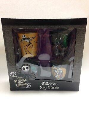 NIB Disney Nightmare Before Christmas Shot Glass 4 pack Halloween Mini Glasses