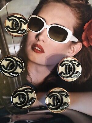 5x CC Knöpfe Vintage Chanel 22mm Jacke Mantel - Gold Kostüm Kleid