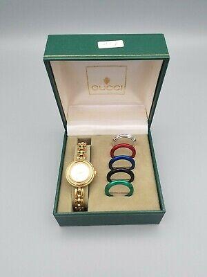 Vintage Gucci 11/12.2 Quartz Ladies Watch Interchangeable Bezel 18k Gold Plated