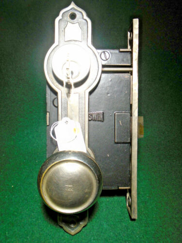 RUSSWIN 11248 ART DECO ENTRY LOCK SET w/ KNOBS, PLATES & KEY (14661-8)