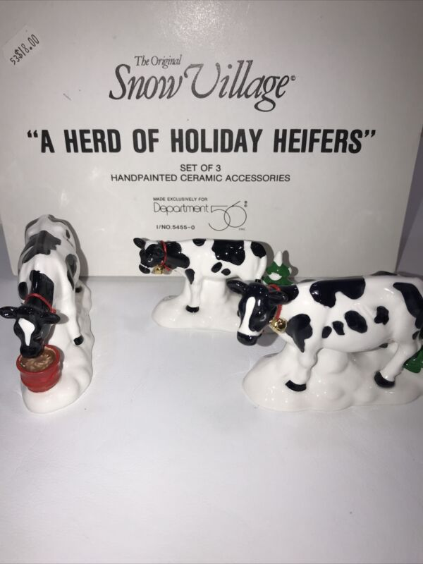 Dept 56 Snow Village A Herd Of Holiday Heifers 54550 3 Cows Figurines - NIB