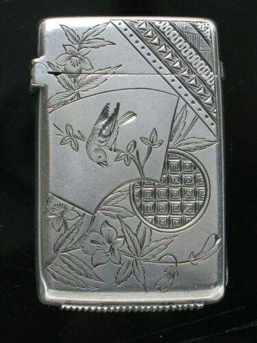 English Aesthetic Sterling Silver Bird Match Safe Vesta Box 1884 G. Unite