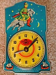 Vintage Mid Century USSR Weight Driven Cepdobocans Tinplate Wall Clock Horse Sky
