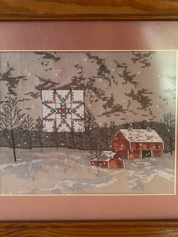 """VINTAGE CROSS STITCH FINISHED FRAMED PICTURE SNOWY BARN SCENE """"WINTER STAR"""""""