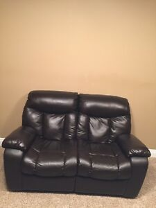 Leather (synthetic) recliner love seat and chair
