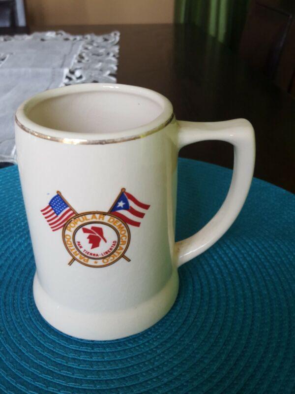 Puerto Rico Vintage Partido Popular Democrático P.P.D. Ceramic Cup Mug Very Rare