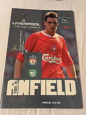 Liverpool V Olimpija Ljubjana 2003 Europa league programme