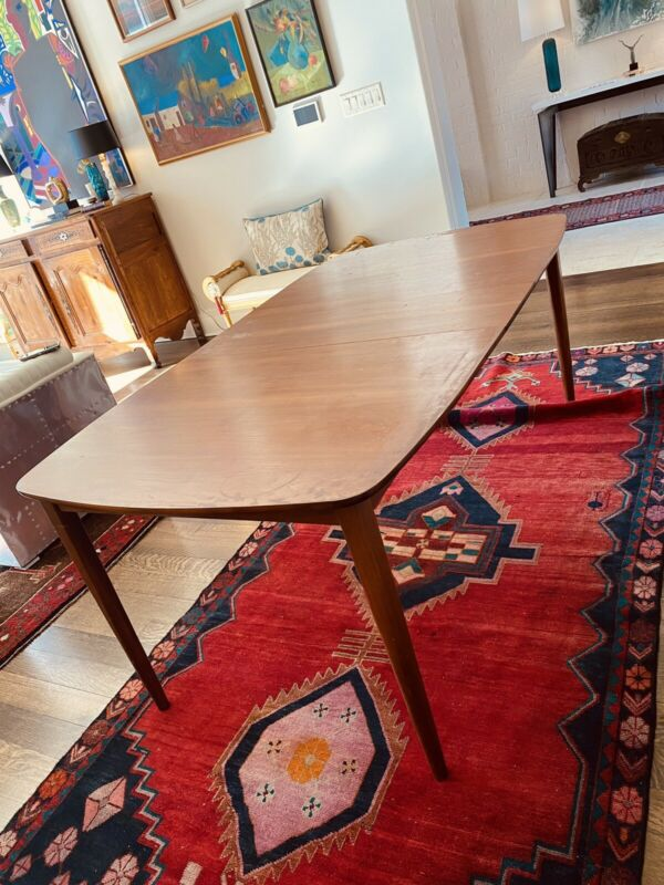 "MID CENTURY MODERN DINING TABLE W/ LEAF ORIGINAL WALNUT DANISH 58 OR 70"" *USHIP"
