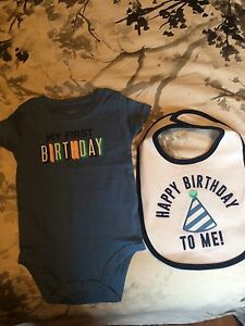 Carters First Birthday Onesie and Bib
