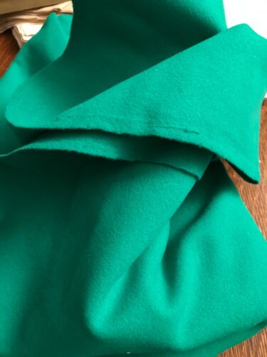 """rich green woven wool felt fabric vintage quality 56""""x60"""" for jacket importedWOW"""