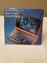 Sharper Image Big Screen Travel Alarm Clock SI415 Light LCD Big Display Folding