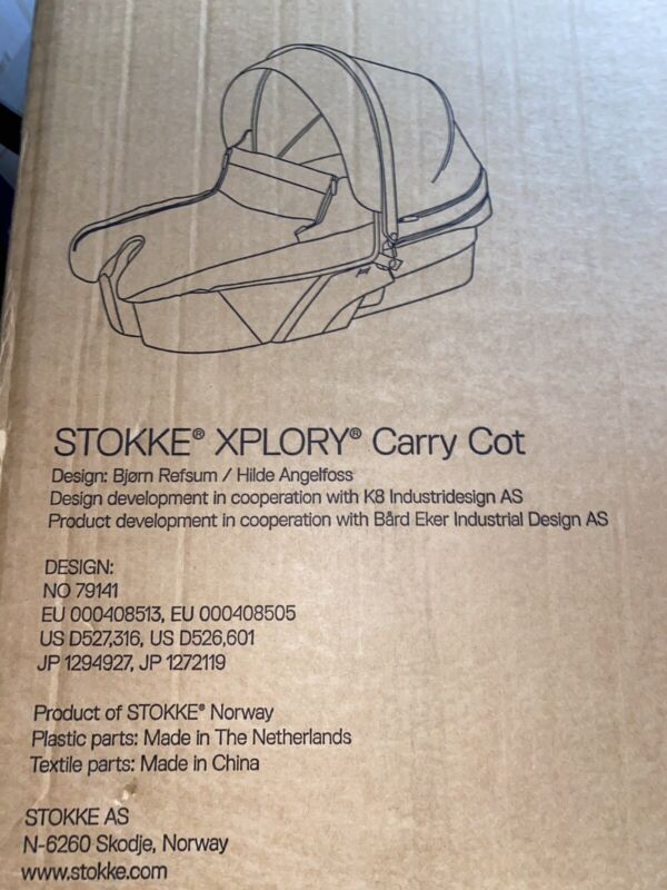 NEW Stokke Xplory Carry Cot Complete 175507 Lt Green Missing Canopy