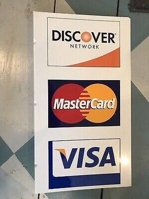 New Old Stock Metal Credit Card Sign 26 X 11 Amex Visa Mc Discover