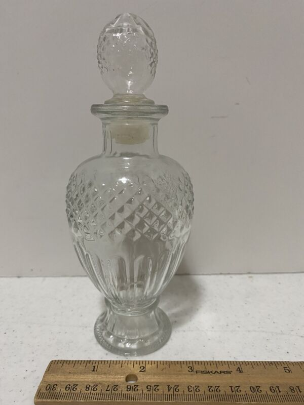 "Vintage Avon Clear Glass Diamond Cut Apothecary Decanter Bottle & Stopper 7.5"""