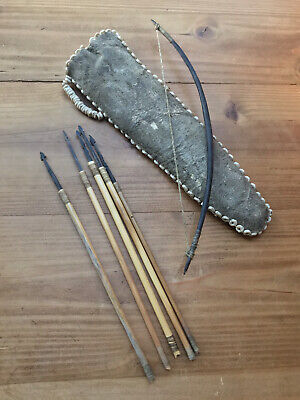 Antique Miniature Bow and Arrow + Rawhide Beaded Quiver Africa