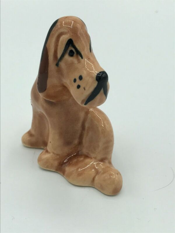 """Miniature 3"""" Ceramic Dog Figurine Bloodhound Small Spots In Both Ears See Pics"""