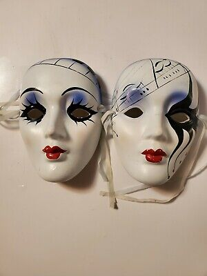 """STYLISH CERAMIC PORCELAIN MASKS WHITE FACE UNIQUE PATTERN 6 1/2"""" TALL WALL HANG"""