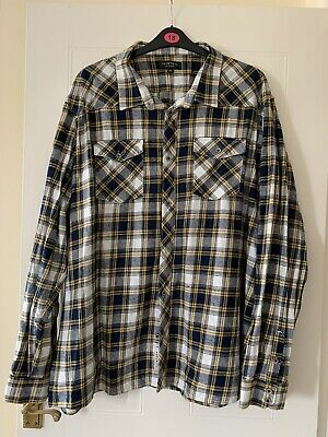FLINTOFF BY JACAMO MENS 3XL Blue Yellow & White Checked Long Sleeved Shirt