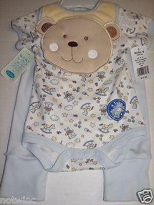 Bon Bebe Body (Bon Bebe Kleinkinder Baby Jungen 3 Tlg Satz Hose Body Lätzchen Teddybär 3-6)
