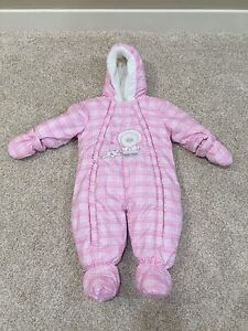 Like New Baby Bell Pink Plaid One Piece Snowsuit, Size 9 Months