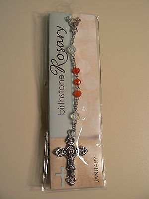 "Grasslands Road BIRTHSTONE ROSARY JANUARY 21"" Long New in Package Instructions"