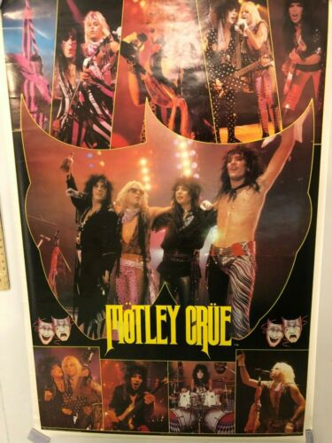 HUGE SUBWAY POSTER Motley Crue Theater of Pain 1986 RARE Vince Neil, Tommy Lee